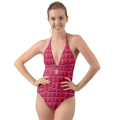 Textile Texture Spotted Fabric Halter Cut Out One Piece Swimsuit