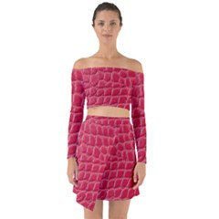 Textile Texture Spotted Fabric Off Shoulder Top With Skirt Set