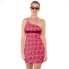 Textile Texture Spotted Fabric One Soulder Bodycon Dress