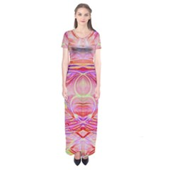 Cosmic Energy Pattern Short Sleeve Maxi Dress