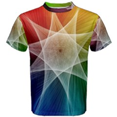 Abstract Star Pattern Structure Men s Cotton Tee