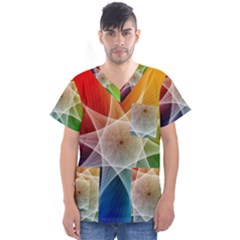 Abstract Star Pattern Structure Men s V Neck Scrub Top