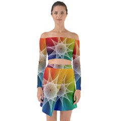 Abstract Star Pattern Structure Off Shoulder Top With Skirt Set