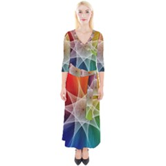Abstract Star Pattern Structure Quarter Sleeve Wrap Maxi Dress