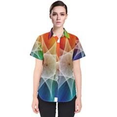 Abstract Star Pattern Structure Women s Short Sleeve Shirt