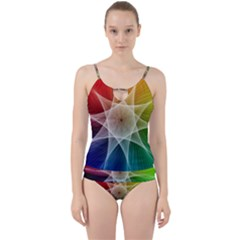 Abstract Star Pattern Structure Cut Out Top Tankini Set