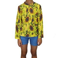 Sun Flower Pattern Background Kids  Long Sleeve Swimwear