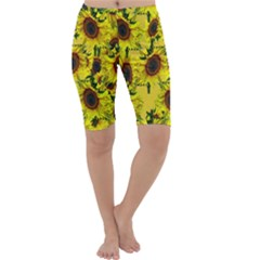 Sun Flower Pattern Background Cropped Leggings