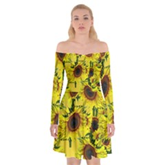 Sun Flower Pattern Background Off Shoulder Skater Dress