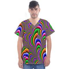 Fractal Background Pattern Color Men s V Neck Scrub Top