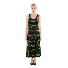 Abstract Dark Blur Texture Sleeveless Maxi Dress
