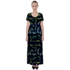 Abstract Dark Blur Texture High Waist Short Sleeve Maxi Dress