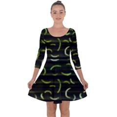 Abstract Dark Blur Texture Quarter Sleeve Skater Dress