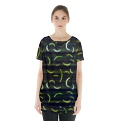 Abstract Dark Blur Texture Skirt Hem Sports Top