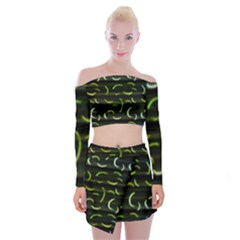 Abstract Dark Blur Texture Off Shoulder Top With Mini Skirt Set
