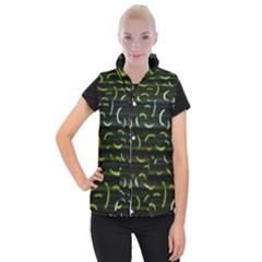 Abstract Dark Blur Texture Women s Button Up Puffer Vest