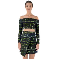 Abstract Dark Blur Texture Off Shoulder Top With Skirt Set