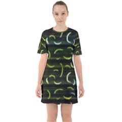 Abstract Dark Blur Texture Sixties Short Sleeve Mini Dress