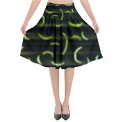 Abstract Dark Blur Texture Flared Midi Skirt
