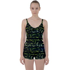 Abstract Dark Blur Texture Tie Front Two Piece Tankini