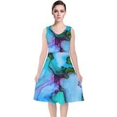 Abstract Painting Art V Neck Midi Sleeveless Dress