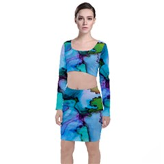 Abstract Painting Art Long Sleeve Crop Top & Bodycon Skirt Set
