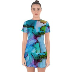 Abstract Painting Art Drop Hem Mini Chiffon Dress