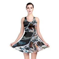 Abstract Flow River Black Reversible Skater Dress