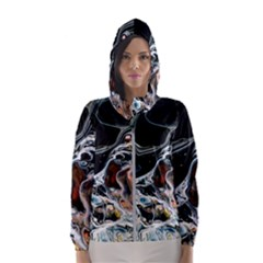 Abstract Flow River Black Hooded Wind Breaker (women)