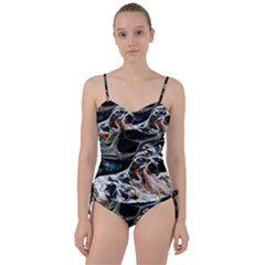 Abstract Flow River Black Sweetheart Tankini Set