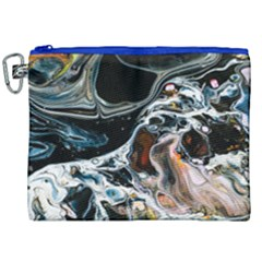 Abstract Flow River Black Canvas Cosmetic Bag (xxl)