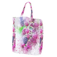 Blackberry Fruit Art Abstract Giant Grocery Zipper Tote