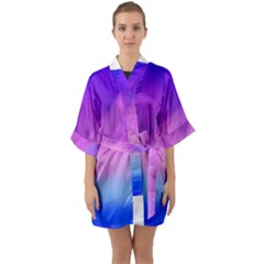 Background Art Abstract Watercolor Quarter Sleeve Kimono Robe