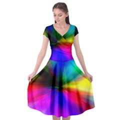 Creativity Abstract Alive Cap Sleeve Wrap Front Dress