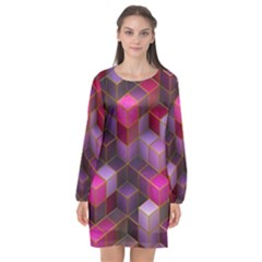 Cube Surface Texture Background Long Sleeve Chiffon Shift Dress