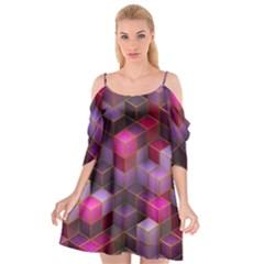Cube Surface Texture Background Cutout Spaghetti Strap Chiffon Dress