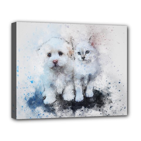 Cat Dog Cute Art Abstract Deluxe Canvas 20  X 16