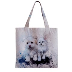 Cat Dog Cute Art Abstract Grocery Tote Bag