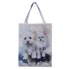 Cat Dog Cute Art Abstract Classic Tote Bag