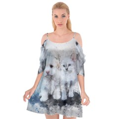 Cat Dog Cute Art Abstract Cutout Spaghetti Strap Chiffon Dress