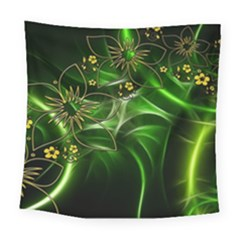 Flora Entwine Fractals Flowers Square Tapestry (large)