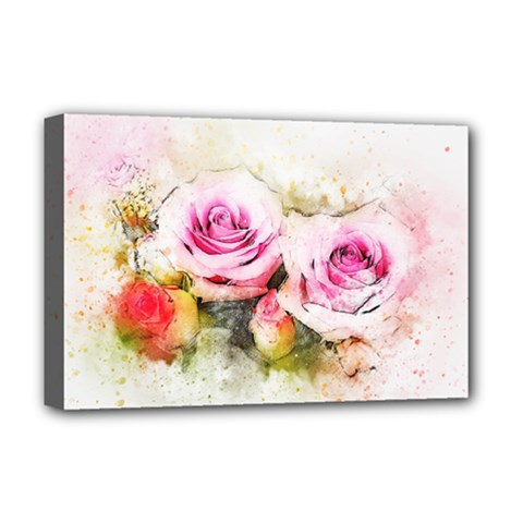 Flower Roses Art Abstract Deluxe Canvas 18  X 12