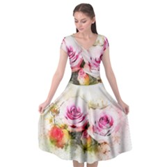 Flower Roses Art Abstract Cap Sleeve Wrap Front Dress