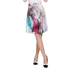 Cat Kitty Animal Art Abstract A Line Skirt