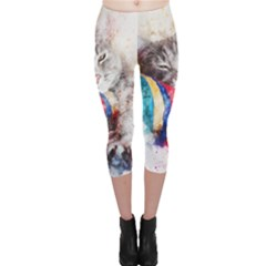 Cat Kitty Animal Art Abstract Capri Leggings