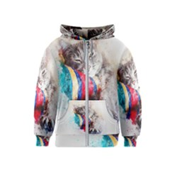 Cat Kitty Animal Art Abstract Kids  Zipper Hoodie