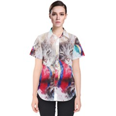 Cat Kitty Animal Art Abstract Women s Short Sleeve Shirt