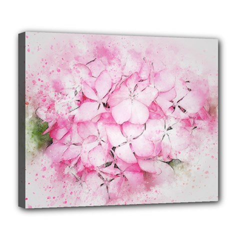 Flower Pink Art Abstract Nature Deluxe Canvas 24  X 20