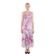 Flower Pink Art Abstract Nature Sleeveless Maxi Dress