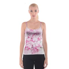 Flower Pink Art Abstract Nature Spaghetti Strap Top